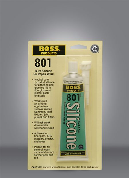 BOSS® 801 Pool & Spa Neutral Cure Silicone Adhesive Blister Card - 3 Oz Aluminum Tube - Silicone and Applicators