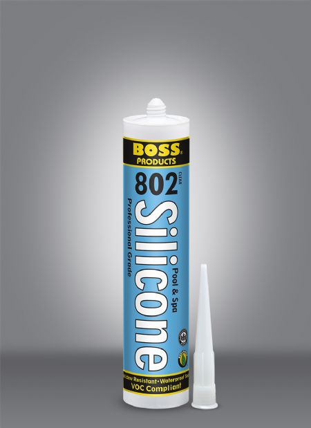 BOSS® 802 Pool & Spa Acetoxy Cure Silicone General Purpose Adhesive - 10.1 Oz Cartridge - Silicone and Applicators