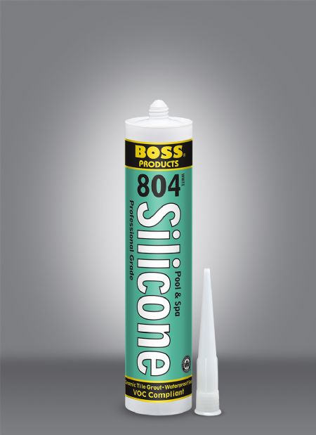 BOSS® 804 Pool & Spa Neutral Cure Silicone Ceramic Tile Grout - 10.1 Oz Cartridge - Silicone and Applicators